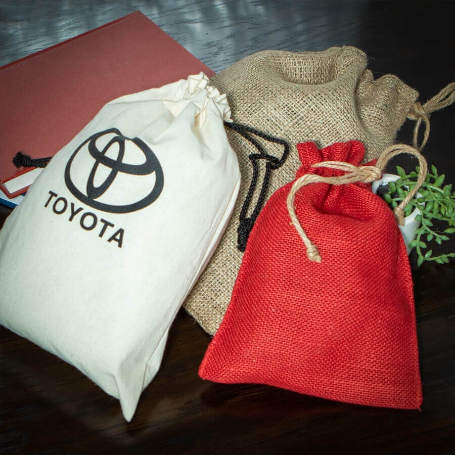 Cotton & Burlap Bags with Draw String