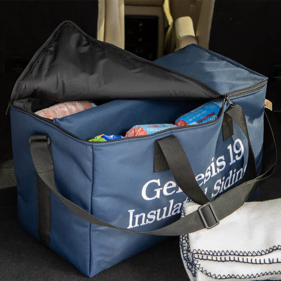 Cooler Bag filled with frozen foods