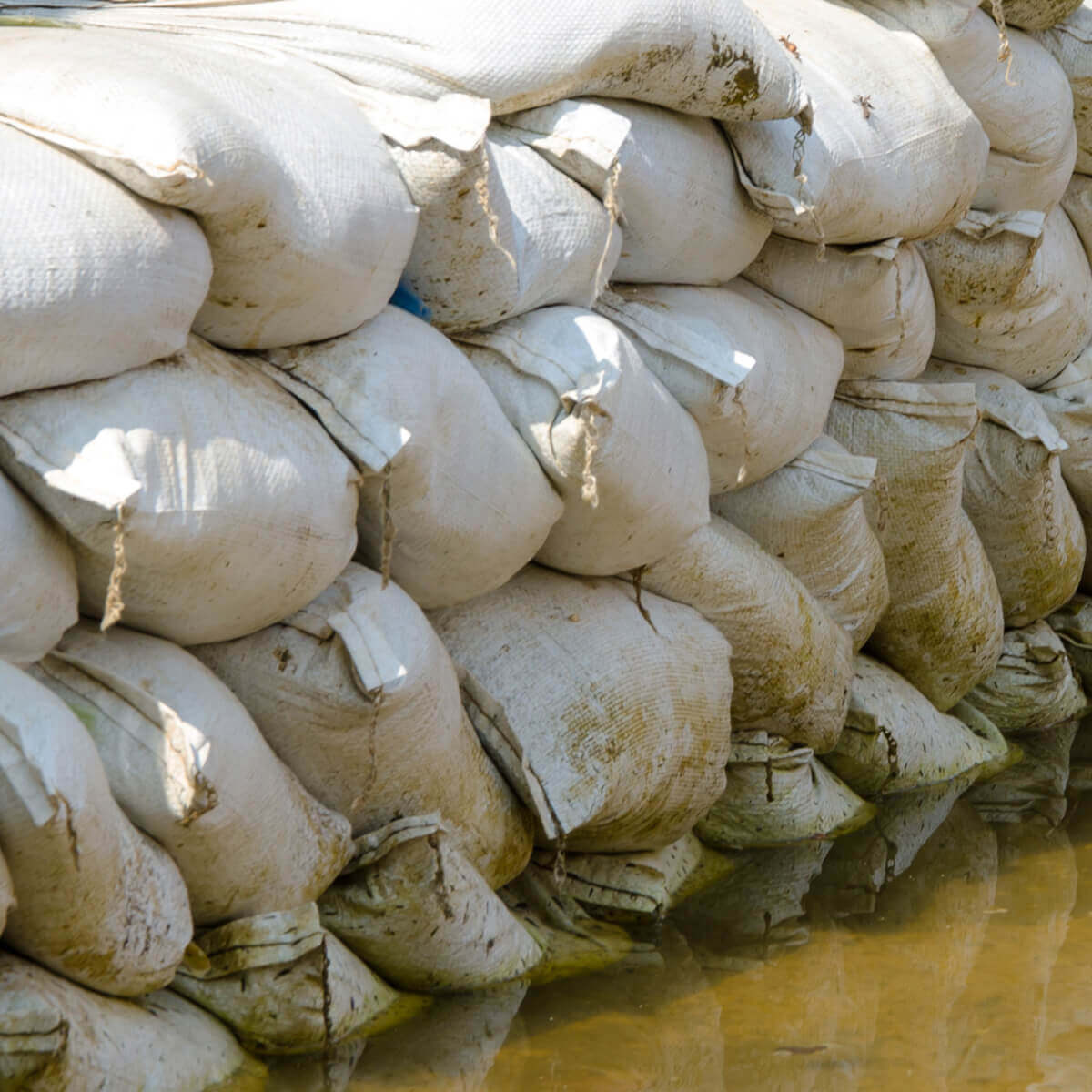 Sandbags Stacked in Use
