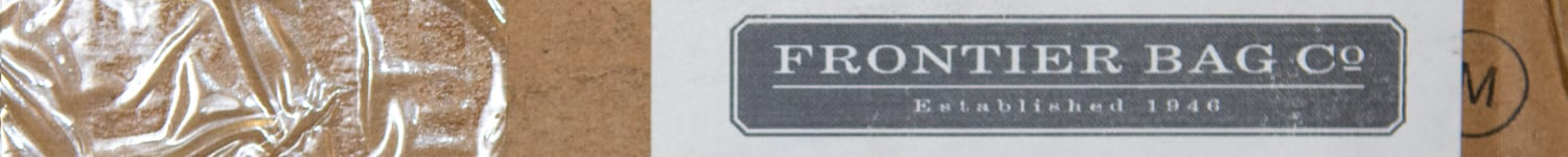 Box with Frontier Bag Co. mailing label